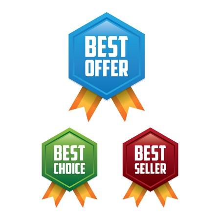 Best Offer, Best Choice, Best Seller Label Badges Vector