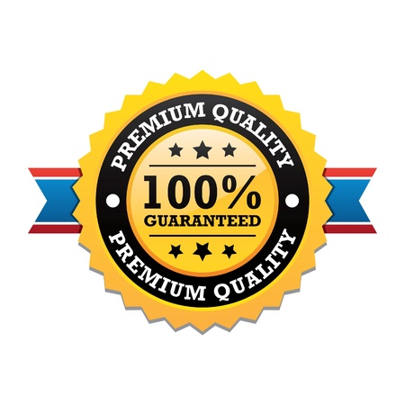 Premium Quality Label With Ribbon Vector