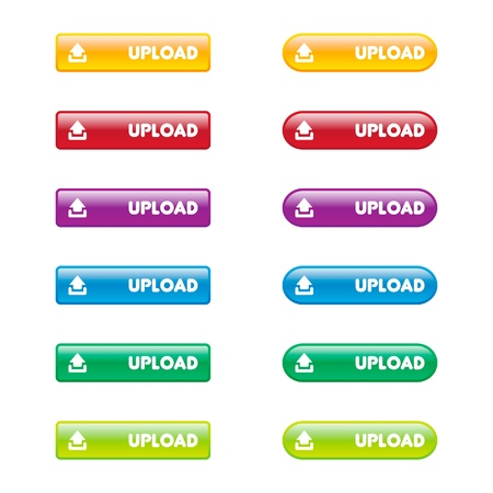 Colorful Set of Upload Buttons Vector