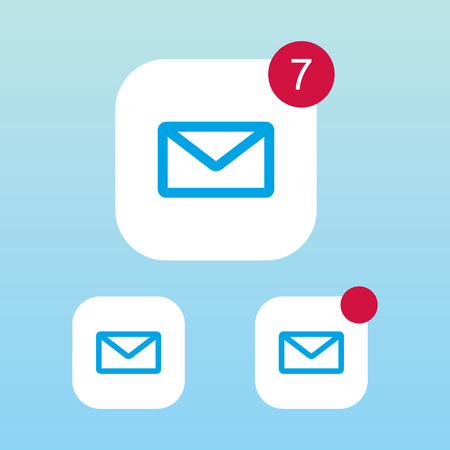 by mail: Mail Icon With Notification Illustration
