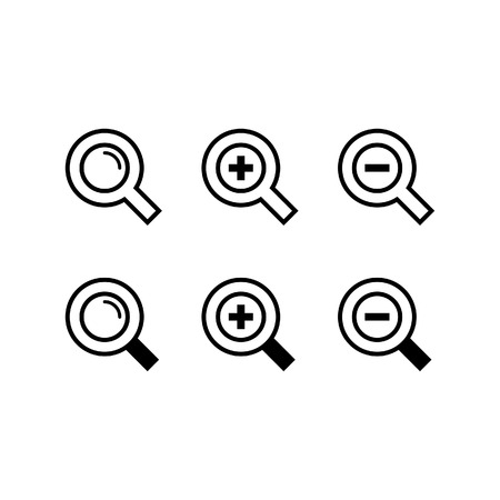 zoom in: Magnifying Glass Search or Zoom Icons Illustration