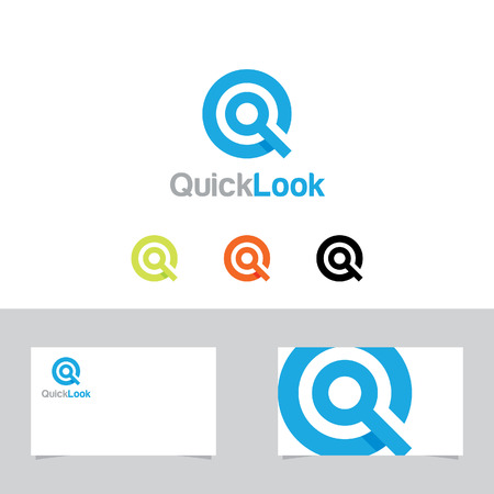 editable sign: Letter Q or Magnifying Glass Symbol With Business Card Template
