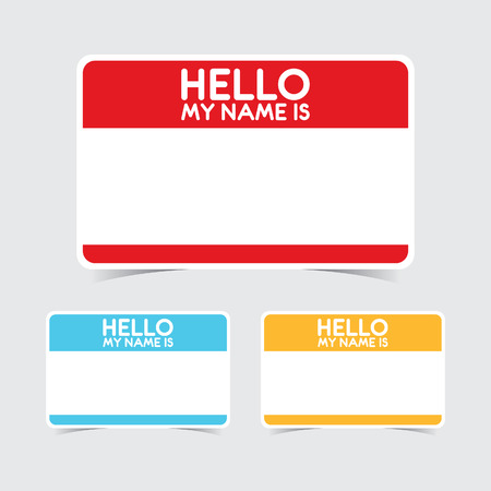 Blank Hello My Name Is Name Tag Stickers Illustration