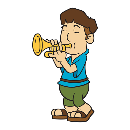 Cartoon Trumpet Player Vector Illustration Illustration