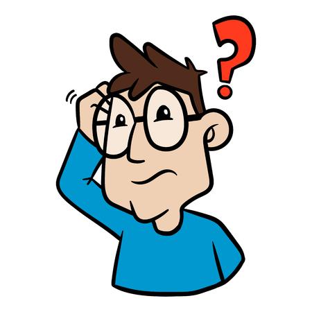 Cartoon Confused Person Vector Illustration