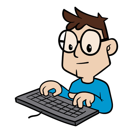 Cartoon Person Typing on Keyboard Vector Illustration