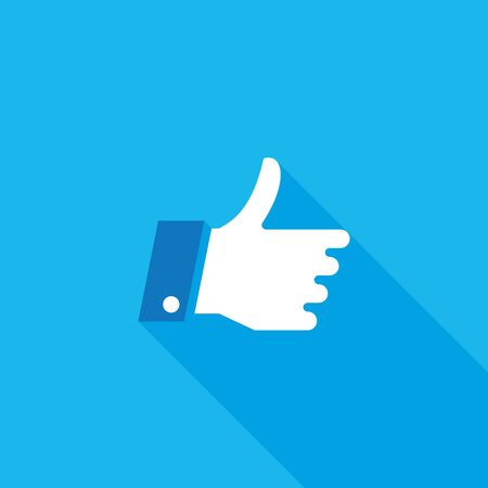 Thumbs Up Flat Long Shadow Icon Illustration