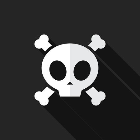 skull with crossed bones: Crossed Bones and Skull Flat Long Shadow Icon