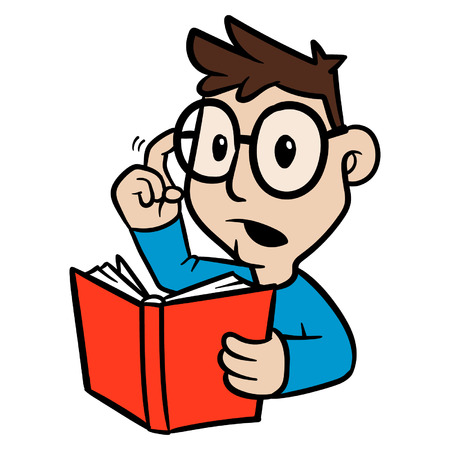 Cartoon Person Holding a Book Looking For Answer Vector Illustration