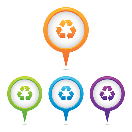 Set of Recycle Symbol Marker Icons