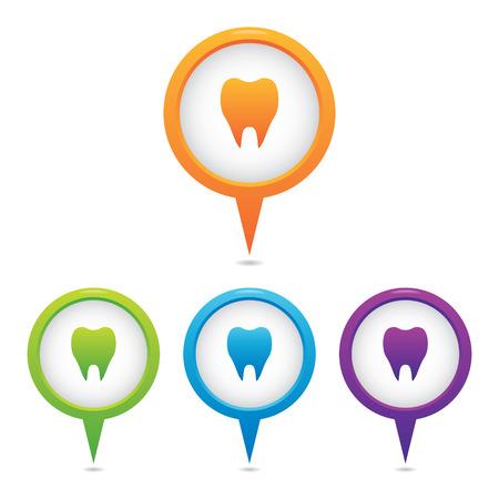 Set of Tooth or Dental Marker Icons Illustration