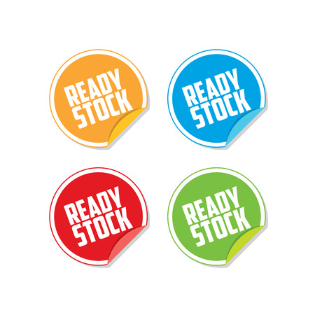 Colorful Ready Stock Sticker Labels Illustration