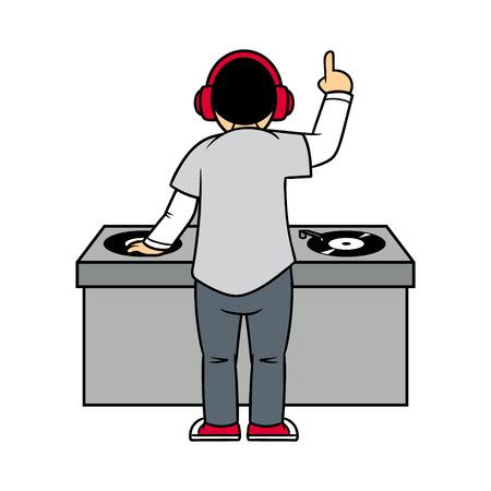 Back View of Cartoon DJ Vector Illustration Illustration