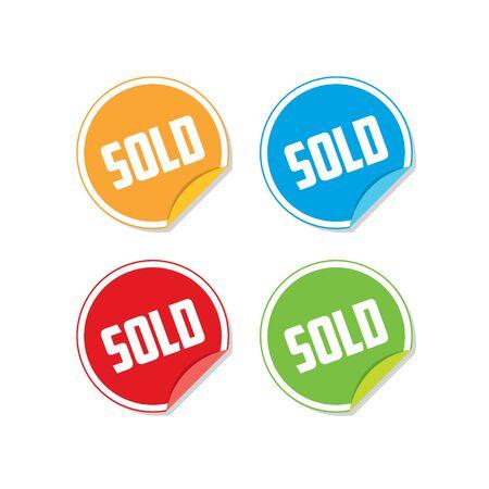 Colorful Sold Sticker Labels Ilustração