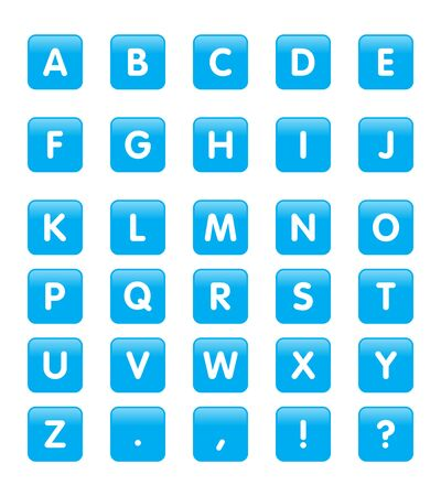 Vector Alphabet Rounded Square Icons or Buttons