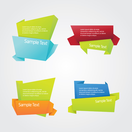 Abstract Origami Ribbon Set Ilustração