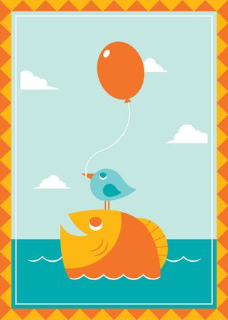 Bird and Fish Vector Illustration