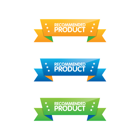 Colorful Set of Recommended Product Ribbons Ilustração