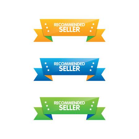 Colorful Set of Recommended Seller Ribbons Ilustração