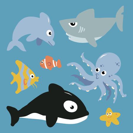 Cartoon Fish and Marine Animals Illustration Set