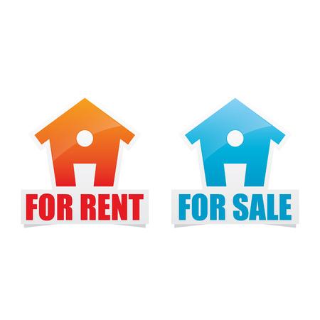 House For Rent and For Sale Labels Ilustração