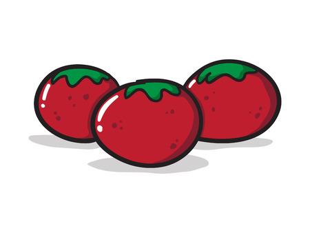 Three Cartoon Tomatoes Vector Illustration