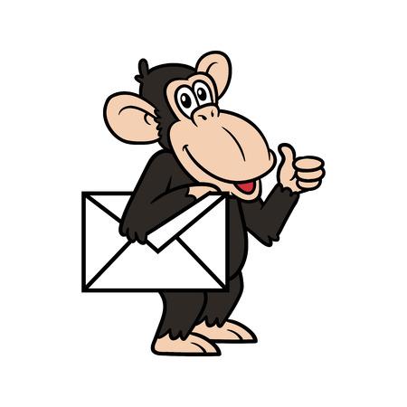 Cartoon Chimpanzee With Envelope Vector Illustration