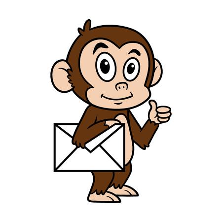 Cartoon Monkey With Envelope Vector Illustration