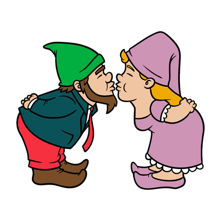 Cartoon Groom and Bride Gnomes Kissing Vector Illustration