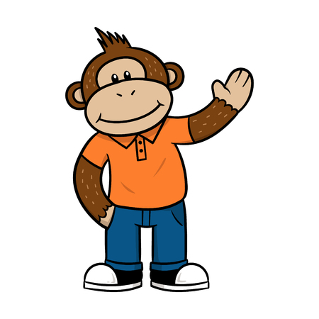 Friendly Cartoon Monkey Character Vector Illustration Ilustração