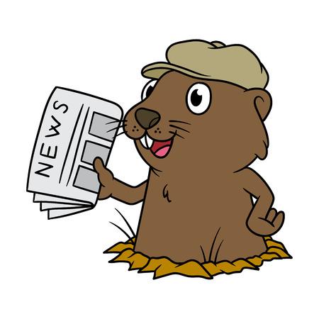 Cartoon groundhog holding a newspaper. Stock Illustratie