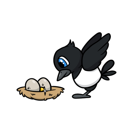 Cartoon Magpie Pecking Around Its Nest Mark Vector Illustration