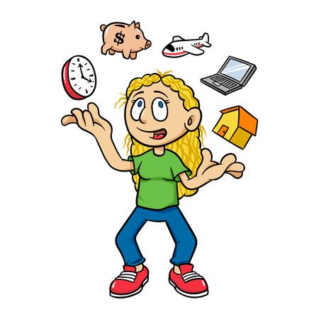 Cartoon Woman Juggling Time Management Vector Illustration Ilustração