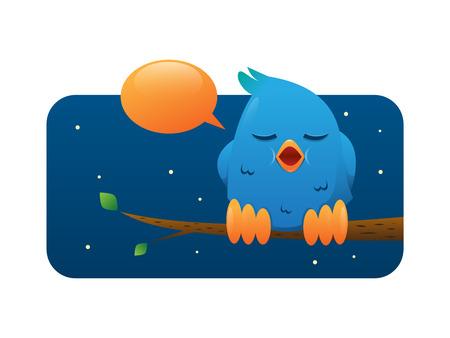 Blue Bird On a Branch Vector Illustration