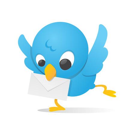 Blue Bird With Mail Ilustração