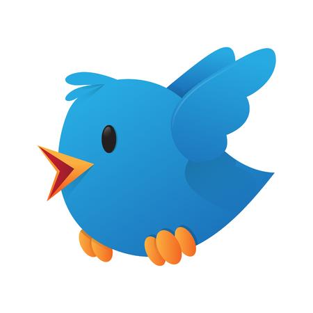 Flying Blue Bird Vector Illustration
