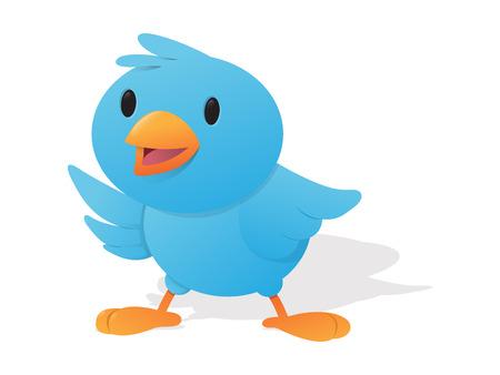 Happy Blue Bird Vector Illustration