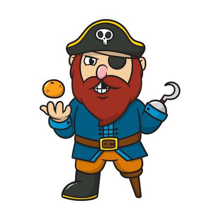Cartoon Pirate With an Orange Illustration