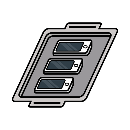 Cartoon Smartphones On a Tray