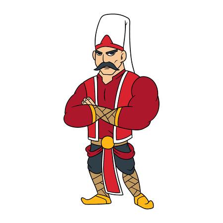 Cartoon Janissary Warrior Vector Illustration Ilustração