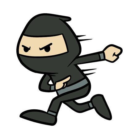 Cartoon Ninja Running Vector Illustration