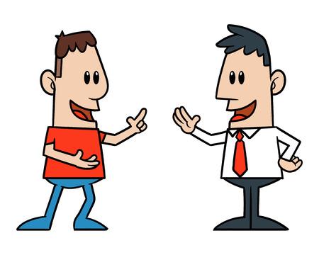 Twee Cartoon Men Talking Stockfoto - 71969185