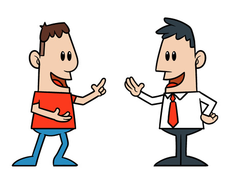 two men talking: Two Cartoon Men Talking Illustration