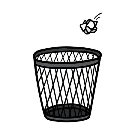 Cartoon Crumpled Paper and Trash Can Vector Illustration