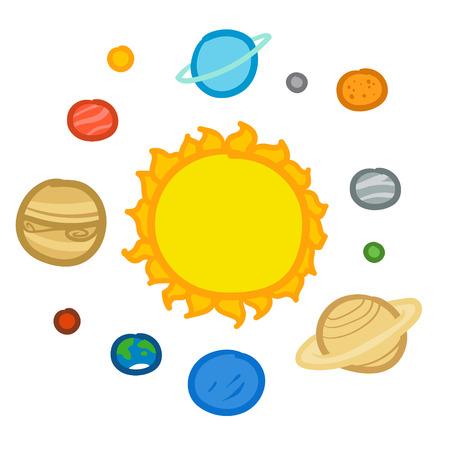 Cartoon Solar System illustration.