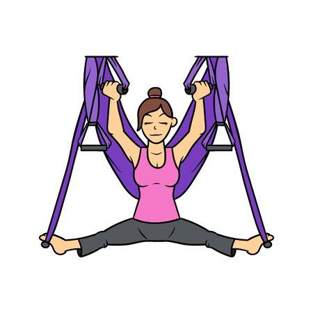 Cartoon Woman with yoga swing illustration. Stock Illustratie