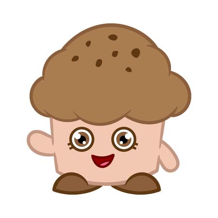 Cartoon Chocolate Muffin Vector Illustration Ilustração