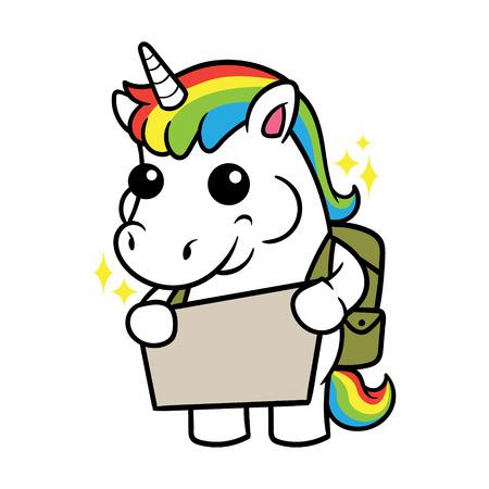 Cute Unicorn Cartoon Character Holding a Sign