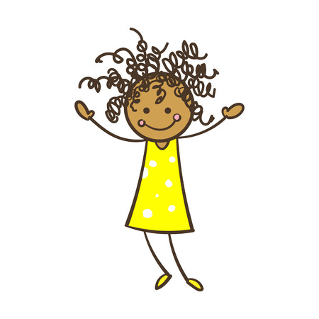 american stories: Cartoon Stick Figure Girl With Curly Hair