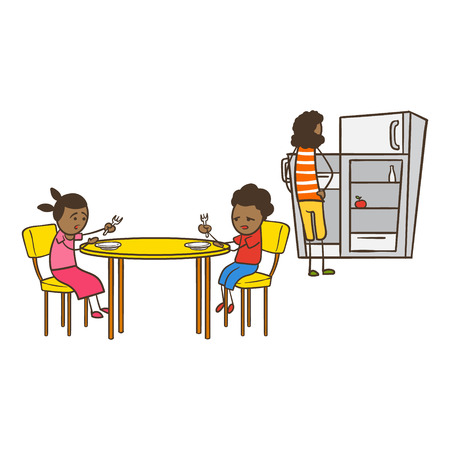 american stories: Cartoon Stick Figure Woman and Kids With No Food to Eat